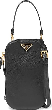 Prada Embellished Textured-leather Pouch - Black