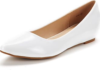 Dream Pairs Womens Jilian Slip On Pointed Toe Low Wedge Ballet Flats Pumps Shoes White Pat Size 8.5 US / 6.5 UK