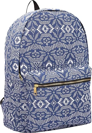 Quenchy London Ladies Backpack, Girls Casual Daypack Bag for School, Work or Hand Luggage Travel 20 Litre Size 39cm x32 x16 QL7164N (Navy Geometric)