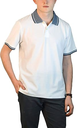 White Label Maine Mens Cotton Pique Polo Shirt Relaxed Fit Contrast Stripe Tipped Collar White M