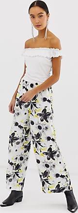 Monki Pantaloni con fondo ampio a fiori-Multicolore