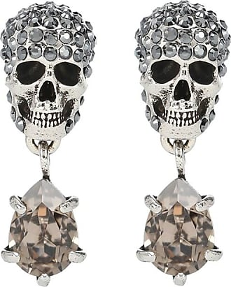 Alexander McQueen Silver-toned skull earrings with rhinestones
