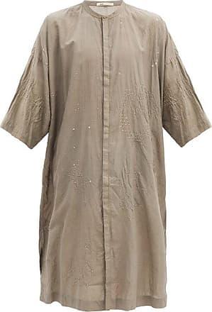 11.11 / eleven eleven 11.11 / Eleven Eleven - Bandhani-embroidered Cotton Kaftan - Mens - Charcoal