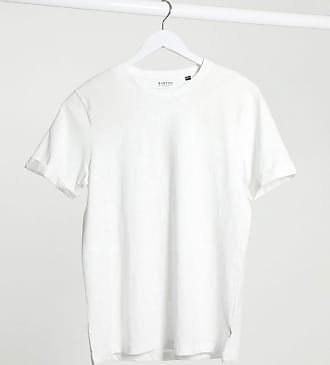 Burton Menswear organic slub t-shirt with roll sleeves in white