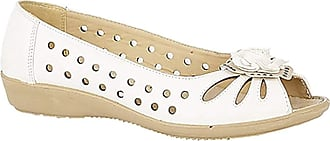 Boulevard Ladies Punched Open Toe Flower Trim Casual PU Sole White size 3 UK