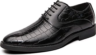 LanFengeu Men Dress Shoes Waterproof Casual Leather Lace up Oxfords Pointed Toe Wedding Party Business Shoes Black