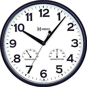 Uhren Herweg Relogio de Parede Herweg Redondo Preto Termometro Higrometro