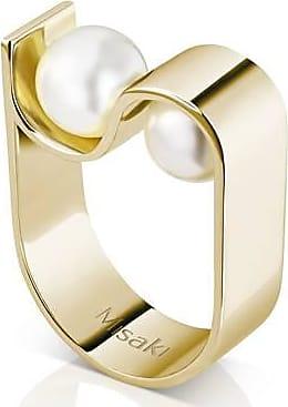 Misaki Bague large Initials dorée avec perles blanches - taille 50
