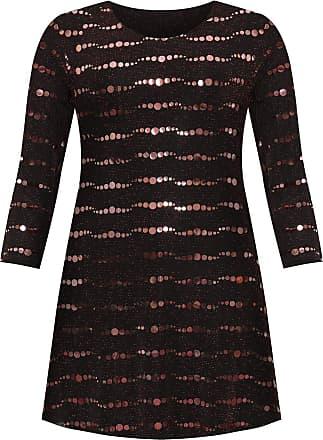 Islander Fashions Womens Lurex Sparkle Sequin Flared Swing Dress Ladies Plus Size Party Wear Dress Red UK 18