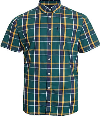 Ben Sherman Textured Check Short Sleeve Shirt Breast Pocket 100% Cotton XXL Trekking Green