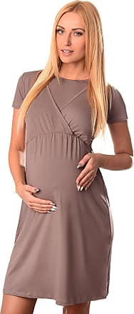 Purpless Maternity 2in1 Pregnancy and Nursing Dress with Short Sleeves and Round Neck 7200 (18, Cappuccino)