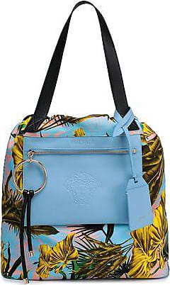 a60f34b8e6a Versace Versace Woman Printed Twill And Leather Tote Light Blue Size