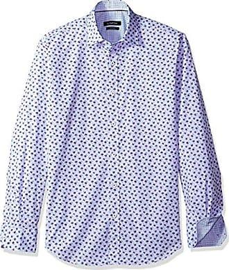 Bugatchi Mens Cotton Slim Long Sleeve Regular Placket Shirt