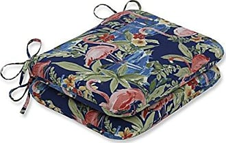 Pillow Perfect Outdoor | Indoor Flamingoing Lagoon Rounded Corners Seat Cushion (Set of 2), Blue 18.5 X 15.5 X 3