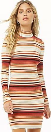 Forever 21 Forever 21 Striped Mock Neck Dress Rust/cream