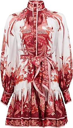 Zimmermann Wavelength Bird And Floral-print Silk Mini Dress - Womens - Pink Print