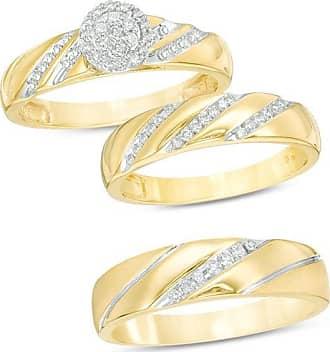 Zales 1/3 CT. T.w. Composite Diamond Frame Slant Wedding Ensemble in 10K Gold - Size 7 and 10