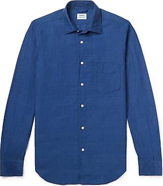 Aspesi Slim-fit Garment-dyed Linen And Cotton-blend Shirt - Blue