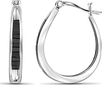 JewelersClub JewelersClub 1/2 Carat T.W. Black Diamond Sterling Silver Hoop Earrings