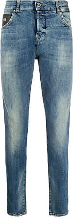 John Richmond Calça jeans slim com estampa de logo - Azul