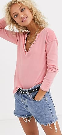 Free People military mix henley top-Pink