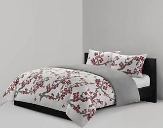 Natori Cherry Blossom Duvet Cover King Size - Red, Grey, Cherry Blossom Duvet Cover Set - 3 Piece - 100% Cotton Sateen Light Weight Bed Comforter Covers