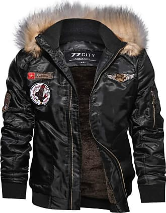 JERFER LUCKME Mens Bomer Jacket with Fur Hooded Fleece Liner Stand Collar Thickend Warm Outwear Zipper Ribbed Softshell Jacket with Pockets Biker Jacket Mens