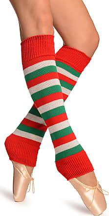 Liss Kiss Green, Red And Lurex White Stripes Dance/Ballet Leg Warmers - Multicoloured Striped Leg Warmers
