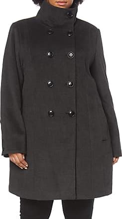 Ulla Popken Womens Wollmantel mit doppelreihigen Knöpfen Coat, Grey (Grey 11), 20