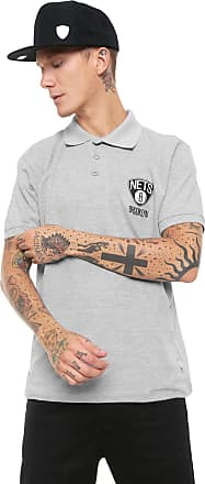 NBA Camisa Polo NBA Reta Brooklyn Nets Cinza