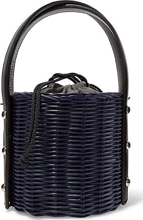 Wicker Wings Quan Rattan And Leather Bucket Bag - Navy