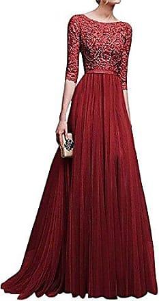 Damen Abendkleid Ball Cocktail Brautjungfern Kleid A-Linie Tüll Spitze Knielang