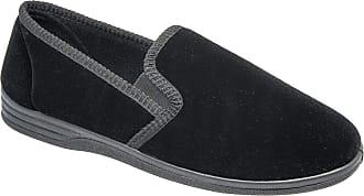 Zedzzz Mens Black Velour Warm Comfortable Slippers Sizes 7 to 14 (13)
