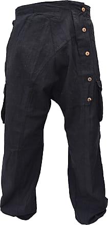 Gheri Mens Button Up Crinkled Harem Pants Cargo Trousers Black L/XL