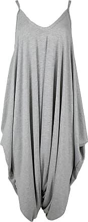 Be Jealous New Womens Ladies Cami Thin Strap Lagenlook Romper Baggy Harem Jumpsuit Playsuit M/L (UK 12/14) Silver Grey