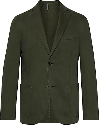 Incotex Dark-green Garment-dyed Cotton And Cashmere-blend Twill Blazer - Dark green