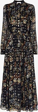 Chloé Womens Blue Floral Print Silk Dress