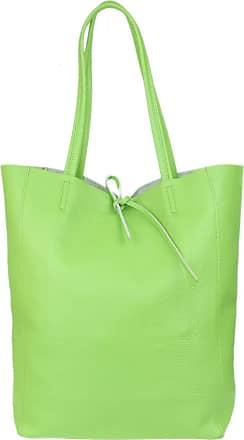 Girly HandBags Girly HandBags Open Top Genuine Leather Handbag (Light Green)