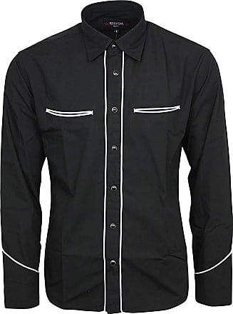 Relco Plain Black Western Cowboy with White Piping Long Sleeved Shirt, XXX-Large