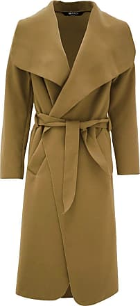 ZEE FASHION Women Italian Long Sleeve Ladies Belted Trench Waterfall Coat Long Jacket