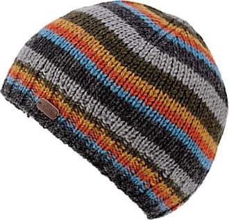 KuSan 100% Wool Brooklyn Knitted Stripe Beanie Hat (Charcoal/Green)