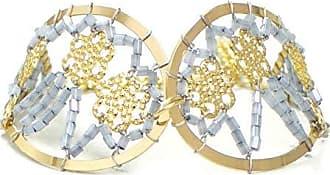 Tinna Jewelry Pulseira Dourada Gota Zig-Zag (Cinza)