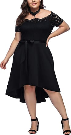 FeelinGirl Womens Plus Size Evening Dresses V Neck Half Sleeves High Waist A Line Christmas Party Dress (Black-08, UK 24-26 4XL)