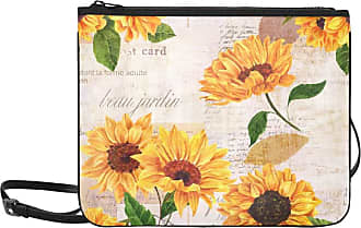 Yushg Shoulder Zipper Bag Hand Drawn Vibrant Yellow Watercolor Sunflowers Adjustable Shoulder Strap Clutch Bags For Women Girls Ladies Fashion Bag For Girls
