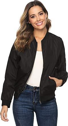 Abollria Womens Jacket Classic Stand Collar Zip Casual Sportswear Flight Bomber Jacket Coat Black