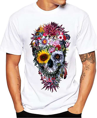 FNKDOR Summer Casual Men Hiking Sport Printing Tees Shirt Short Sleeve T Shirt Blouse (UK-18/CN-XXL, White2)