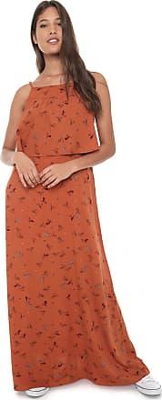 Redley Vestido Redley Longo Pássaros Laranja