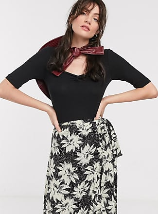 Whistles sweetheart gather front rib top in black