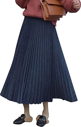 Yonglan Womens Long Skirt High Waist Loose Stylish and Comfortable Fashion Velvet Pleated Skirt Navy