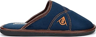 Dunlop Mens famous DUNLOP ANDREW faux suede Navy Mule Slippers - Navy Blue - size UK Mens Size 6